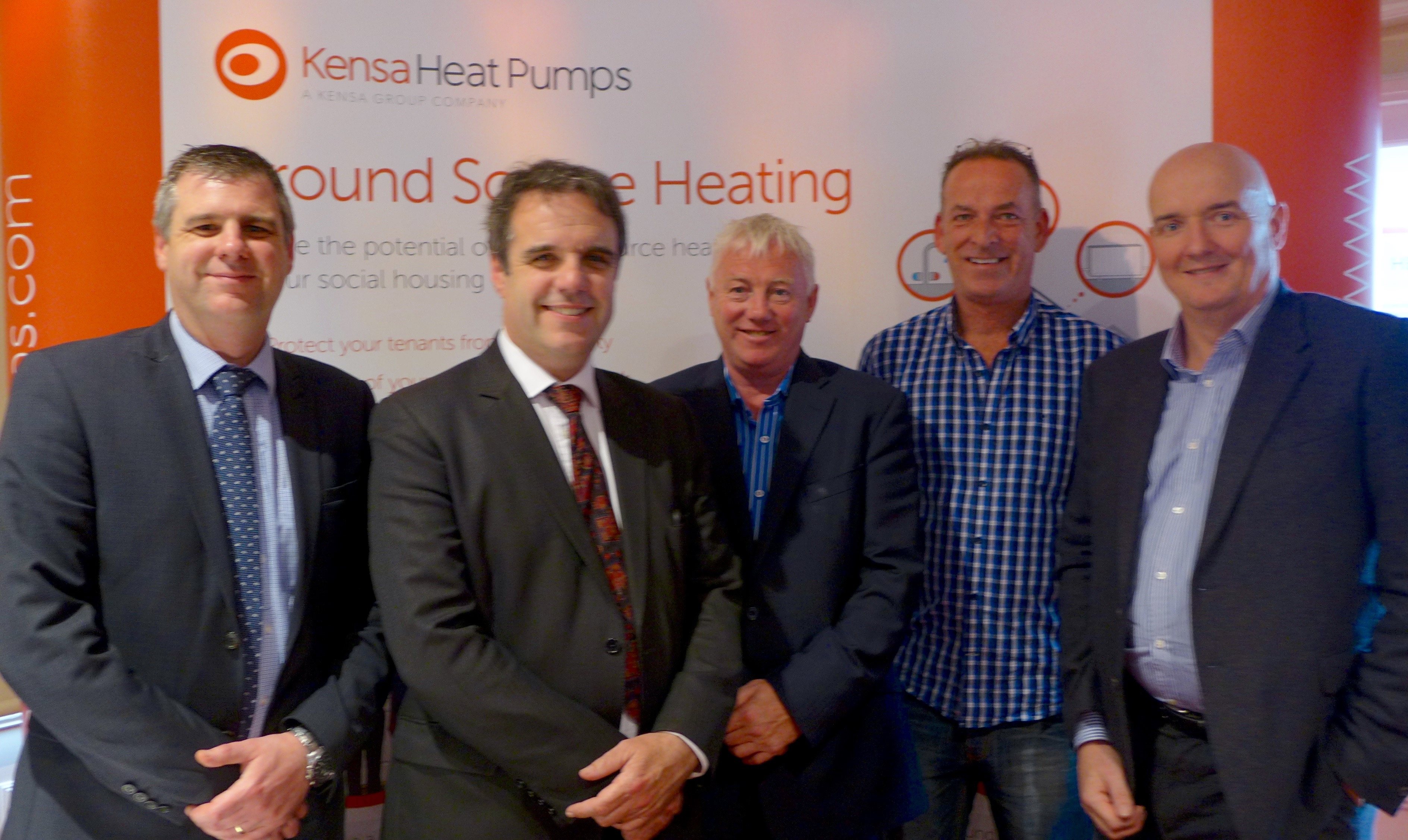 Chris Davis (Kensa Heat Pumps) / Lord Taylor of Goss Moor (National Housing Federation) / David Greensmith (Carbon Savings Alliance) / Steve Grocock (Trent & Dove) / Simon Lomax (Kensa Heat Pumps)