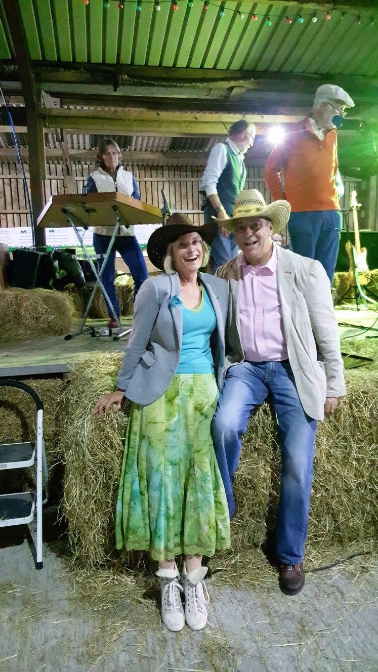Charity barn dance filling boots